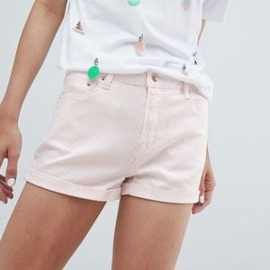 STRADIVARIUS STRIPED DENIM SHORTS in PINK/WHItE